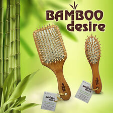 Natural High Quality Bamboo Wooden Large Paddle Mini Pocket Hair Brush Comb Set