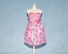 Two Tone Pink Rose Print on White Genuine Barbie Sleeveless Short Dress