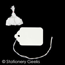 100 White Strung Tickets 54 x 35 mm Price Tags String Swing Labels 54mm x 35mm