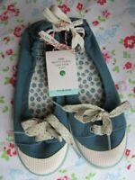 White Stuff Teal Pixie Canvas Shoes Pumps Ladies Size 5 New Tags Plimsolls Shoes