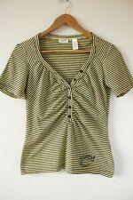 Brand New Womens Miss Sixty 60 Yellow Striped V-Neck T-Shirt Top | Size Medium