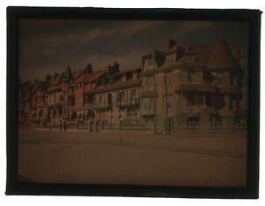 Glass Lantern Slide - Colour Autochrome Of Houses c1900s