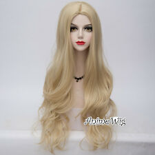 Lolita Lady Light Blonde 80cm Long Wavy Hair Fashion Party Synthetic Cosplay Wig