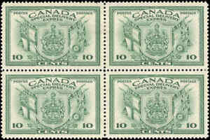 Canada Mint H 1942 VF Block of 4 Scott #E10 10c Special Delivery Stamps