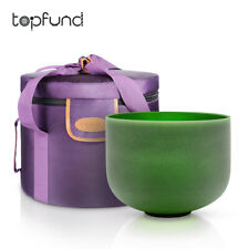 TOPFund F Note Heart Chakra 432 Hz Green Crystal Singing Bowl 10 Inch With Case
