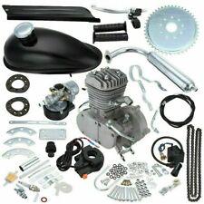 Black 2 Stroke 80cc Gas Bike Engine Motor Kit DIY Motorized Bicycle Chrome pipe