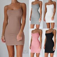 Womens Strappy Vest Sleeveless Cami Bodycon Slip Tank Top Mini Dress Liner Sexy