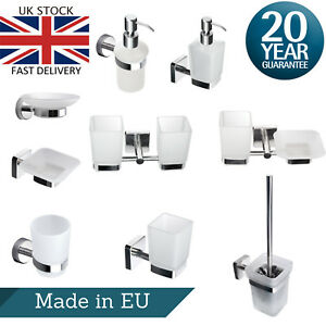 Bathroom Accessory Set Frosted Glass Stainless Steel Wall Mount Square Round WC