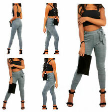 Womens Gingham Check Belted Trousers Ladies High Waisted Leggings Fit Pants 8-18