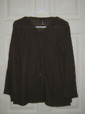 Eileen Fisher Sz M Dk Brown Cotton Span open weave LS Top Button Up Front Top