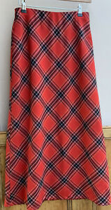 Vintage Style Red Tartan Pure New Wool Maxi Skirt By Lauran Ashley 8uk Petite