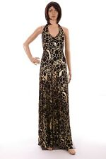 Be Beau Roman Size 14 Black Gold Long Halter Neck Maxi Dress & Cardigan Ladies