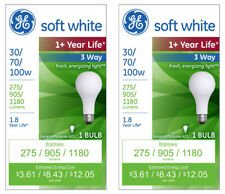 2x General Electric 30/70/100w 3 Way Long Life Incandescent Light Bulb White NEW