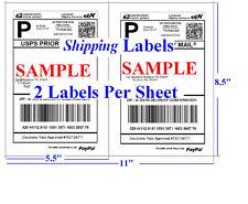 1000 Shipping Labels Blank Self Adhesive Half Sheet 2per Sheet 55 X 85 Premium