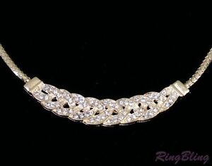REDUCED! Ladies Yellow Gold Plated Crystal Rhinestone Choker Necklace! 60% Off!