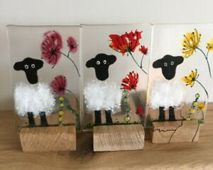 Handmade Fused Glass Art Cute Sheep tea light holder with wooden stand