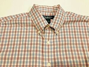 BROOKS BROTHERS COUNTRY CLUB Men's Blue, Pink & Red Plaid Shirt- Sz XL- Ret $92