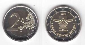 BELGIUM RARE PROOF BIMETAL 2 EURO COIN 2008 YEAR HUMAN RIGHTS