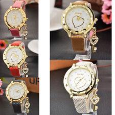 Women Crystal Wrist Watch Bracelet Bangle Lady Leather Dial Heart Quartz Analog