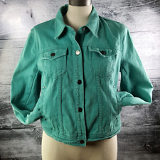 DKNY Jeans Women's Denim Jacket Green Size M Distressed 100% Cotton