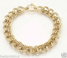 """8"""" Double Rolo Link Curb Bracelet Senora Clasp REAL 14K Yellow Gold 10.1gr"""