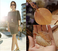 Fashion Elegant Lucky Golden Leaf Pendant Necklace Long Sweater Chain Lady CH