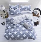 Cotton Blend Cross Single Queen King Size Bed Pillowcase Quilt Duvet Cover Set