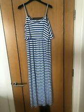 Kontatto Italian Summer Dress Blue and White Stripe with Ruffle Top