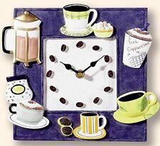Dekorative Küchenuhr Wanduhr Keramik Cafe Cappuccino Espresso Kaffee Blau - 478