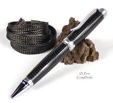 Real Carbon Fiber Weave Handmade Pen Chrome Satin Metal Black Hand Turned Oi