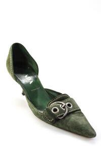 Prada Womens Suede Pointed Toe Kitten Heel Buckle Pumps Green Size 9