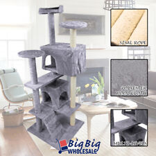 52'' Cat Tree Tower Condo Play House Pet Scratching Post Kitten Furniture Gray