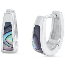 Abalone Huggie Hoop .925 Sterling Silver Earring