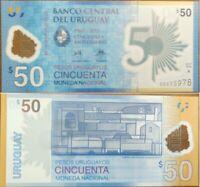 Uruguay 50 Pesos 2017 (2018), UNC, Comm. 50th Ann, POLYMER, P-100a, Prefix -A-