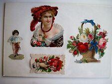 Vintage Victorian Stunning Die-Cuts of Roses In Hand, Basket & Woman's Dress -N*