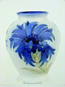A Rare Wm Moorcroft Salt Glaze Cornflower on White Vase. C 1935.