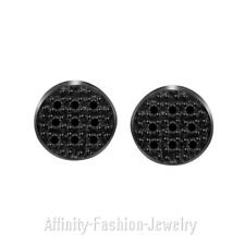 0.04 Ct Round Black Diamond Sterling Silver Micro Pave Round Stud Earrings