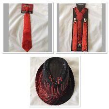 Adult Gangster Detective Costume Set Red Sequin Hat Suspenders Tie Party