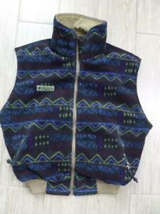 1990s vintage COLUMBIA reversible INDIAN PRINT vest SMALL fleece