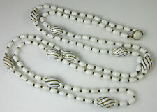 """Vintage 54"""" WHITE & GOLD FLAPPER NECKLACE Plastic Beads & Metal Spacers GERMANY"""