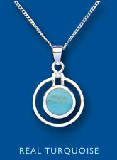 """Turquoise Pendant Real Turquoise Necklace Solid Sterling Silver 18 """" Chain"""