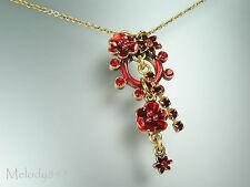 Vintage PILGRIM Necklace ENCHANTED FLOWER Red Swarovski Encrusted Gold BNWT