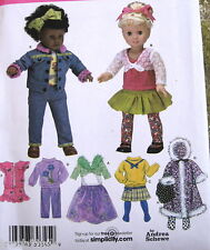 "Andrea Schewe doll clothes pattern coat skirt pants 18"" shrug backpack tights"