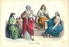 1858 QUATTRO SIBILLINE Sibilla Sibyl mitologia litografia colore coevo
