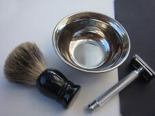 Fine Badger Shaving Brush with Safety Razor & Bowl / Gift / Barber shaving stand