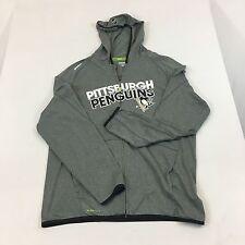 Reebok Pittsburg Penguins Zip Front Hoodie Grey Play dry XL