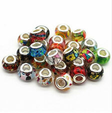 50pcs Mixed Silver MURANO  BEAD LAMPWORK Fit European Charm Bracelet