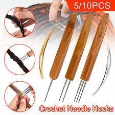 5/10X Bamboo Handle Crochet Dreadlock Hook Needle Tool Braiding Hair Making Tool