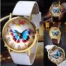 Women Fashion Casual Butterfly Leather Strap Wrist Watch Analog Quartz Watches