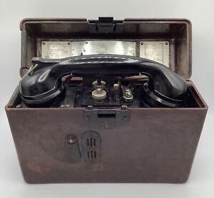 Vintage German Field Phone 1942 E with Bakelite Case WW II Era